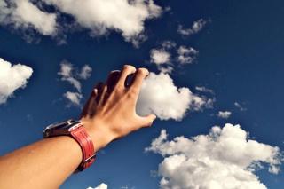 hand, watch, clouds