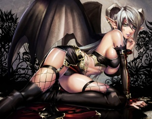 art, Atradea, Sadakage, succubus, girl, the demon, succubus, wings, ears, earrings
