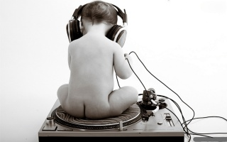 child, headphones, black and white, music
