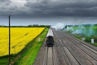 receding train, rails, field, cloudy sky