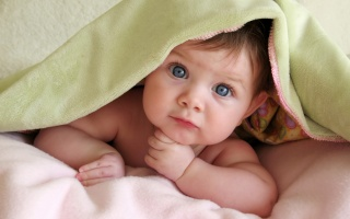child, baby, view, blue eyes