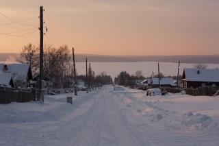 Сибирь, зима, поселок, закат