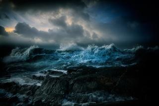 море, хвилі, ніч, краєвид