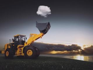 excavator, the cloud, nature