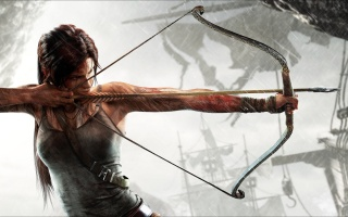 Tomb Raider, Lara Croft, bow & arrow, the rain