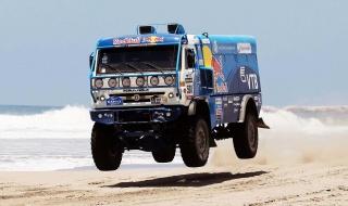 Kamaz, KAMAZ, Truck, Dakar, blue, Red Bull, rally, sea, the beach, water, 501