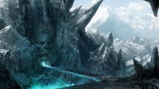 горы, скалы, лицо, каменное, вход, рот, путники, мост