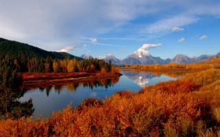 řeka, mraky, příroda, podzim