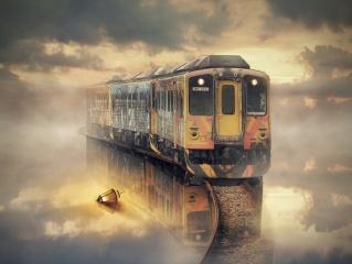 train, water, lamp