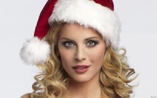 eva habermann, christmas, hat, red, beauty