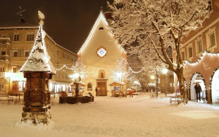 christmas, light, city, winter, village, snow