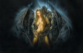 Luis Royo, Kaple Temnoty, démon, křídla, démon, objetí, nude, žena