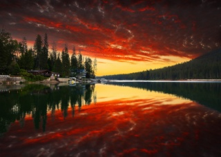 nature, trees, forest, sunset, Park, mountains, the sky, clouds, river, water, reflection, home