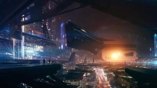 future, stars, ship