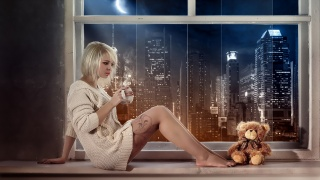 girl, with a mug, in a jacket, sitting, on the windowsill, plush, bear, the city