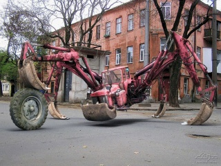the tractor-spider, home, street