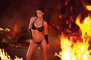 девушка, машина, пожар, креатив