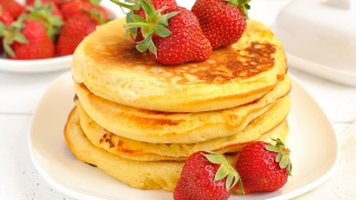 pancakes, strawberry, someone is sure to like