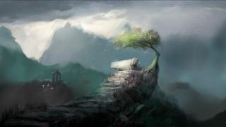 mraky, hory, altán, ptáci, skála, osamělého stromu, fantastický вейзаж
