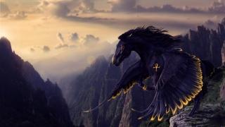 nebe, hory, pegas v letu