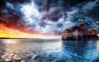 облачное nebe, sluneční paprsek, jezero, fantastický hrad, стяги na věžích