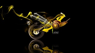 Tony Kokhan, Moto, animal, Snail, Fantasy, yellow, art, Smoke, el Tony Cars, HD Wallpapers, Tony Kokhan, photoshop, Style, Moto, motorcycle, art, Snail, smoke, yellow, yellow, Side view, Wallpaper, 2014, black, background