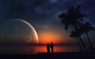 fantasy, obraz, photoshop, noc, hvězdy, moře, planety, palmové, krásně, romance