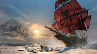 Asasins Creed Rogue, Killer, hunter, Assassins Creed, winter, Northern lights, ship, sails, sea
