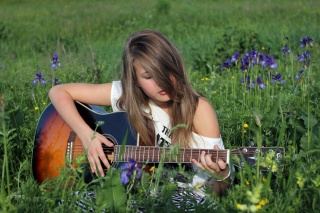 Green, grass, glade, girl, guitar, DECA, STRINGS, VULTURE, nature, greens