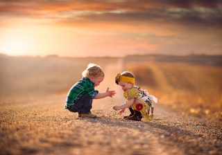 children, macro, photo, nature, road, sunset, the situation, positive, game, boy, girl