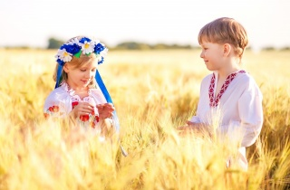 children, boy, girl, field, wheat, wreath, chamomile