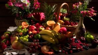 ягоды, корзина, натюрморт, фрукты, виноград, ваза