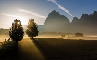 morning, mountains, fog, nature, landscape