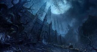 замок, мрак, луна, войско, пленники, Воин