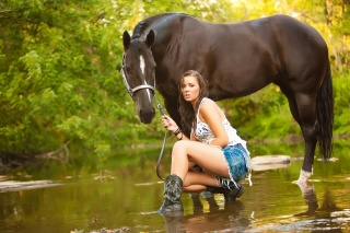 girl, the river, view, horse, summer, COWGIRL, nature, horse, green, water