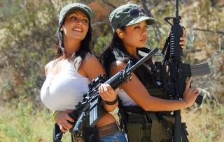 Denise Milani, Guns, Big Boobs, Hunting, weapons