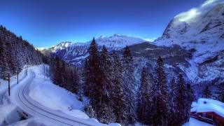 залізничний дорога, зима, ліс, дерева, гори