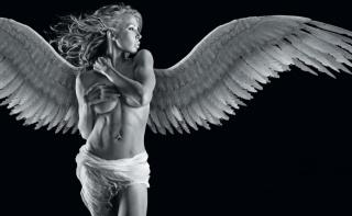 ангел, девушка, блондинка, черно белый фон, фотошоп, фэнтези
