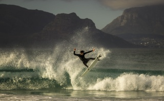 surfing, man, extreme, sports, mountains, the fjord, sea, the sky, clouds