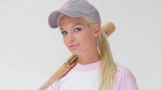 Franziska Facella, sports, bit, baseball, cap, baseball cap, blonde, view, lips, t-shirt
