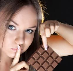 шоколад, красивая, девушка, жест
