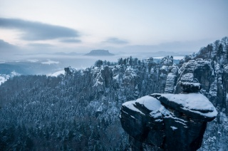 Germany, Saxon Switzerland, mountains, winter, rock, beauty, the sky, forest