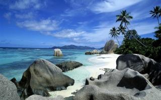 Seychelles, Islands, the ocean, coast, rock, mountains, palm trees, beauty