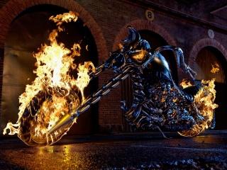 мотоцикл, байк, мотор, Пламя, огонь, призрачный гонщик, призрачный гонщик