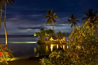 Fiji, resort, the ocean, coast, palm trees, lights, the sky, beauty