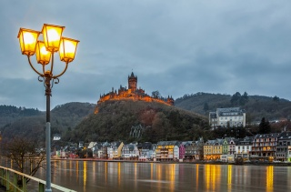 Germany, castle, the castles of Germany, evening, building, home, lights, beauty, lantern, mountains