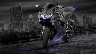 Suzuki, GSX, R750, Moto, Crystal, city, Violet, Neon. Night. el Tony Cars, Photoshop, Tony Kokhan, photoshop