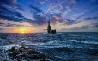 sea, divers, sunset, the sky, submarine