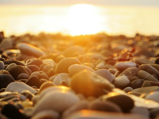 moře, západ slunce, slunce, jasně, paprsek, světlo, kameny, pláž, makro, krásně