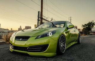 hyundai, Coupe, Genesis, green
